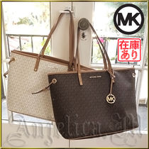 Michael Kors JET SET TRAVEL Monogram Unisex A4 PVC Clothing Office Style Totes