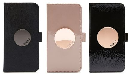 Studded Plain Leather Smart Phone Cases