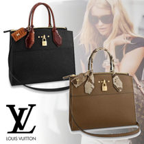 Louis Vuitton CITY STEAMER Blended Fabrics A4 2WAY Plain Leather Python Elegant Style