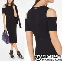 Michael Kors Tight Plain Short Sleeves Elegant Style Dresses