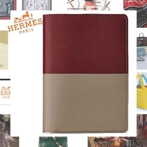 HERMES Calfskin Blended Fabrics Bi-color Plain Folding Wallets
