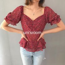 Short Other Check Patterns Flower Patterns Chiffon Peplum