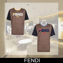 FENDI Crew Neck Monogram Cotton Short Sleeves T-Shirts