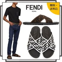 FENDI Monogram Unisex Street Style Shower Shoes Shower Sandals