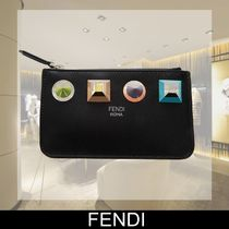 FENDI Unisex Calfskin Studded Plain Coin Purses