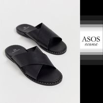 ASOS Studded Street Style Plain Leather Shower Shoes