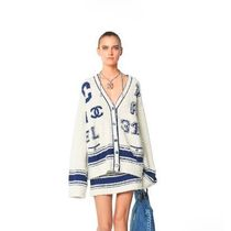 CHANEL Long Sleeves Cotton Long Gowns Cardigans