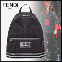 FENDI Monogram Canvas Street Style A4 Backpacks