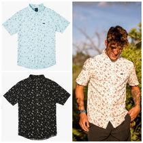 RVCA Button-down Flower Patterns Cotton Short Sleeves Shirts