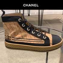CHANEL Platform Casual Style Blended Fabrics Plain