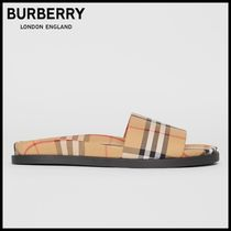 Burberry Other Check Patterns Unisex Shower Shoes Shower Sandals