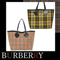 Burberry Tartan Other Check Patterns Unisex Street Style A4 Totes