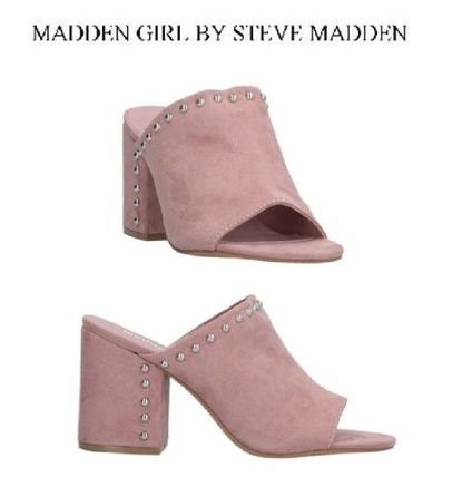 Open Toe Rubber Sole Casual Style Studded Heeled Sandals