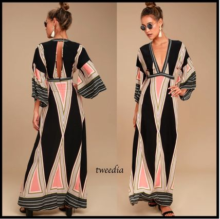 Crew Neck Stripes Dots Maxi Cropped Long Elegant Style