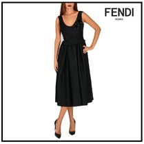FENDI Sleeveless Plain Long Elegant Style Dresses