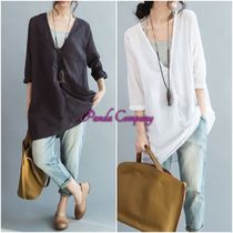 Casual Style Cropped Cotton Long Shirts & Blouses