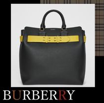 Burberry Unisex A4 2WAY Plain Leather Totes