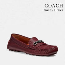 Coach CROSBY Casual Style Chain Plain Leather Flats