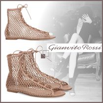 Gianvito Rossi Open Toe Blended Fabrics Leather Elegant Style