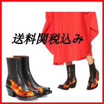 VETEMENTS Square Toe Casual Style Leather Ankle & Booties Boots