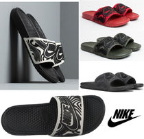 Nike BENASSI Blended Fabrics Street Style Shower Shoes Khaki