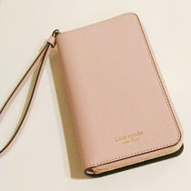 kate spade new york Blended Fabrics Plain Leather Smart Phone Cases