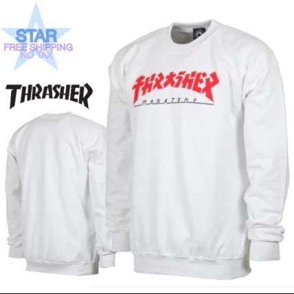 THRASHER Sweatshirts Crew Neck Pullovers Unisex Street Style Long Sleeves Plain