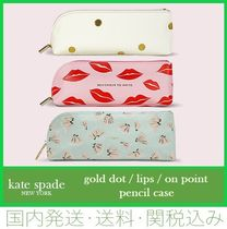 kate spade new york 【SALE】gold dot / lips / on point pencil case