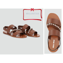 MiuMiu Casual Style Leather Sandals