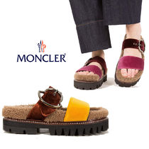 MONCLER Open Toe Rubber Sole Casual Style Fur Blended Fabrics