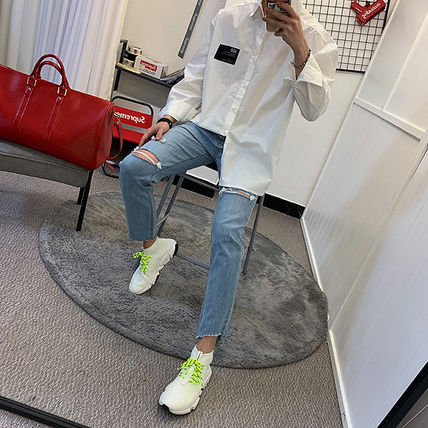 Shirts Unisex Street Style Long Sleeves Plain Oversized Shirts 5