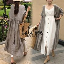 Casual Style Long Sleeves Plain Cotton Long Cardigans