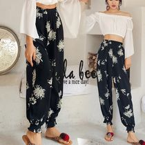 Flower Patterns Casual Style Long Cropped & Capris Pants
