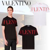 VALENTINO Crew Neck Pullovers Cotton Short Sleeves Logo T-Shirt Logo