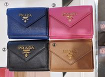 PRADA Calfskin Bi-color Plain Folding Wallets