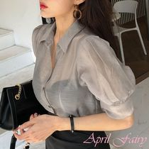 Puffed Sleeves Plain Shirts & Blouses