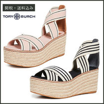 Tory Burch FRIEDA Stripes Open Toe Casual Style Platform & Wedge Sandals