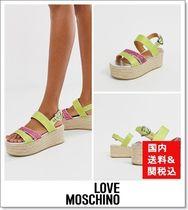Love Moschino Open Toe Faux Fur Elegant Style Shoes