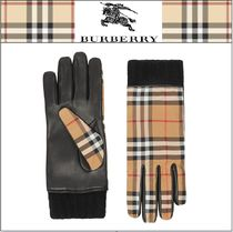 Burberry Tartan Leather Leather & Faux Leather Gloves
