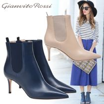 Gianvito Rossi Plain Leather Pin Heels Elegant Style Ankle & Booties Boots