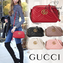 GUCCI GG Marmont Calfskin Chain Elegant Style Shoulder Bags