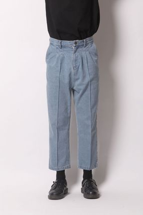 Tapered Pants Unisex Street Style Plain Cotton Tapered Pants