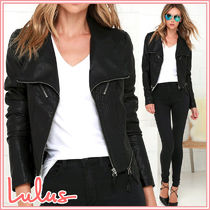 Lulu's Faux Fur Street Style Plain Medium Biker Jackets