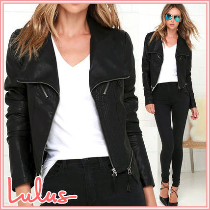 Faux Fur Street Style Plain Medium Biker Jackets