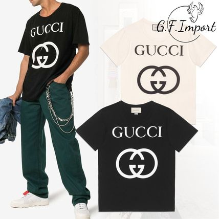 GUCCI Crew Neck Crew Neck Street Style Plain Cotton Short Sleeves