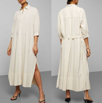 Stripes Casual Style Cropped Long Shirt Dresses Dresses