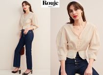 Rouje Puffed Sleeves Plain Cotton Elegant Style Shirts & Blouses
