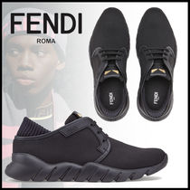 FENDI Blended Fabrics Street Style Plain Leather Logo Sneakers