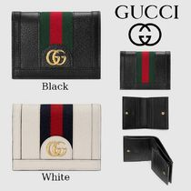 GUCCI Ophidia Stripes Leather Folding Wallets
