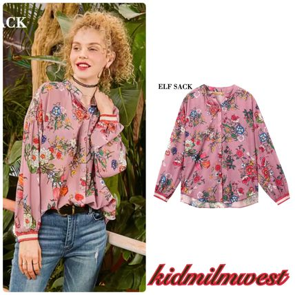 Flower Patterns Casual Style Long Sleeves Shirts & Blouses